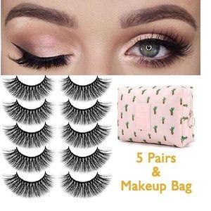 Fake Reusable Eyelashes Set of 5 Including bag